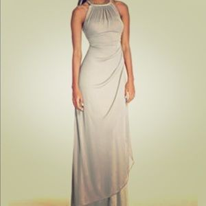 Long Mesh Dress with Illusion Neckline